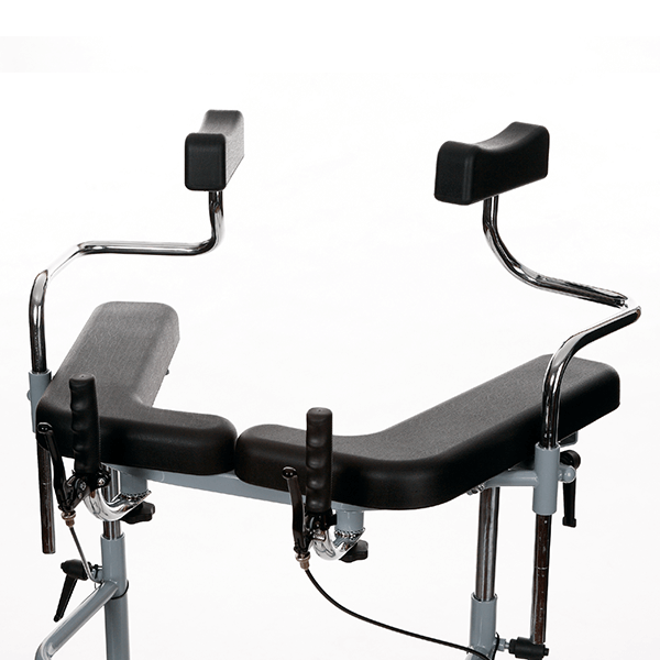 Height adjustable and tilting armpit supports (optional).