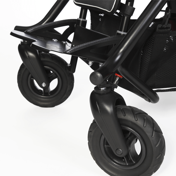 Lockable front swivel wheels; just use the red locking pin